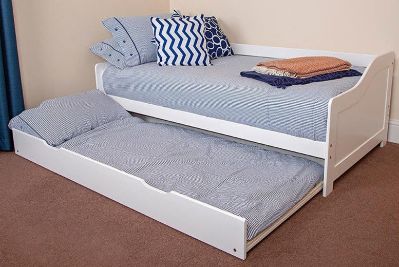 Single White Wooden Day Bed Frame with Pull-Out Underbed (from £79)