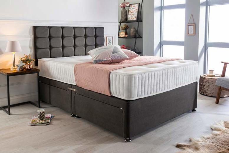 Luxury Charcoal Suede Divan Bed w/Memory Foam Mattress & Headboard