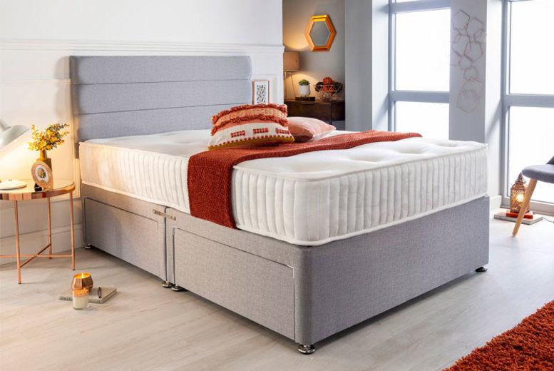 Luxury Grey Divan w/ Memory Mattress & Drawer Options - 6 Sizes!