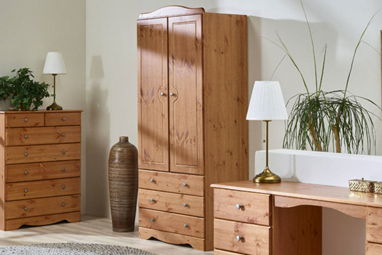 Milford Oak-Finish Wardrobe