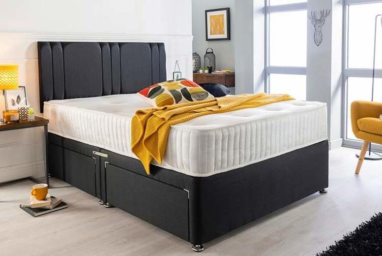 Luxury Black Suede Divan Bed Set, Memory Foam Mattress & Headboard