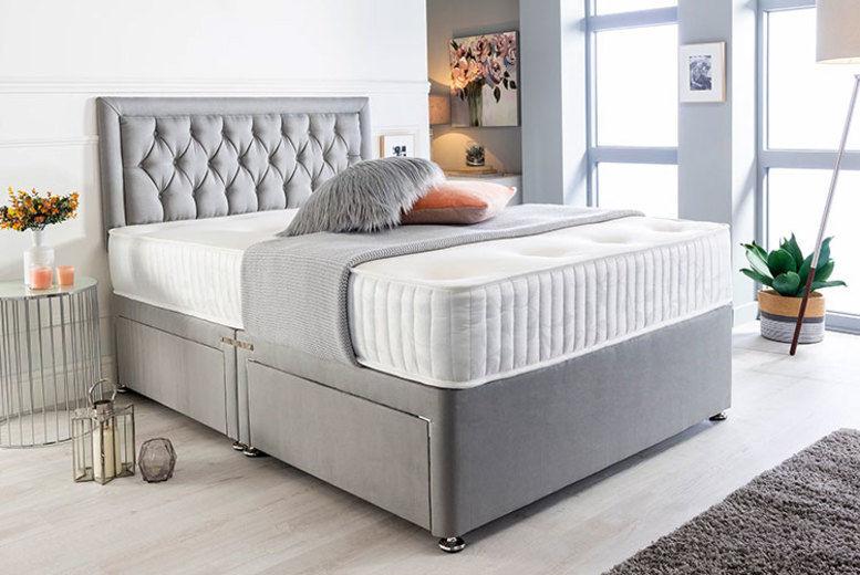 Luxury Grey Suede Divan Bed Set, Memory Foam Mattress & Headboard (from £129)
