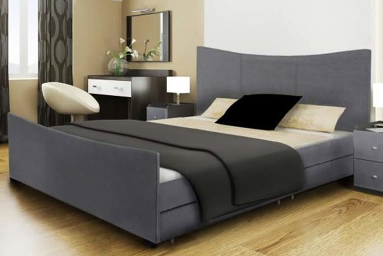 Santiago Fabric Sleigh Bed w/ 4 Drawers - 2 Sizes & 2 Mattress Options!