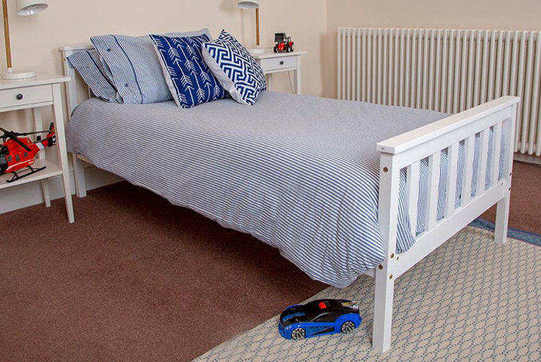 White Wooden Bed Frame – 2 Options! (from £39)
