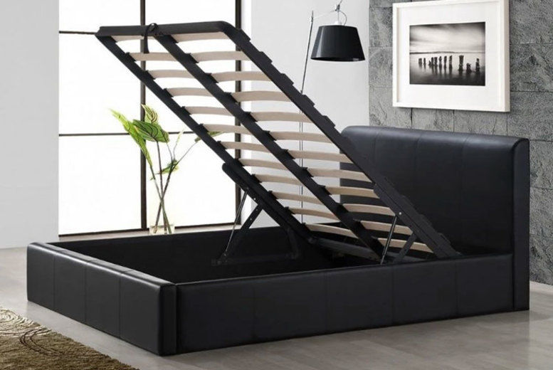 Black Storage Ottoman Faux Leather Upholstered Bed - 2 Sizes!