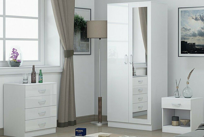 3pc White Gloss Bedroom Furniture Set - 2 Options!