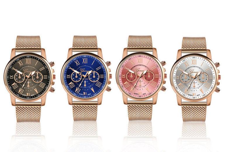 Ladies Geneva Quartz Rose Gold Watch – 4 Options!