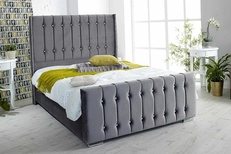Grey Eleanor Plush Velvet Bed W/Mattress Options - 5 Sizes!