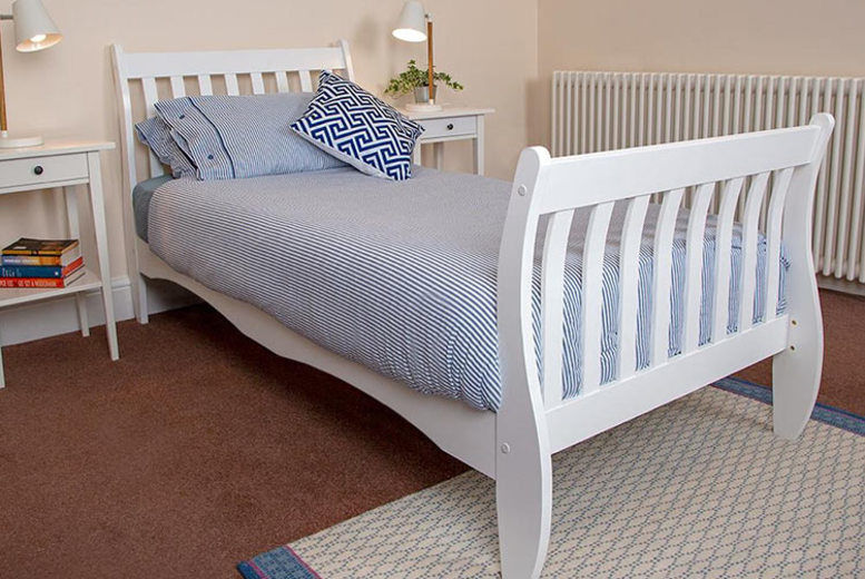 Single White Wooden Ornamental Bed Frame