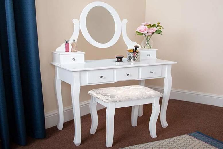 Small Dresser with Mirror & Stool