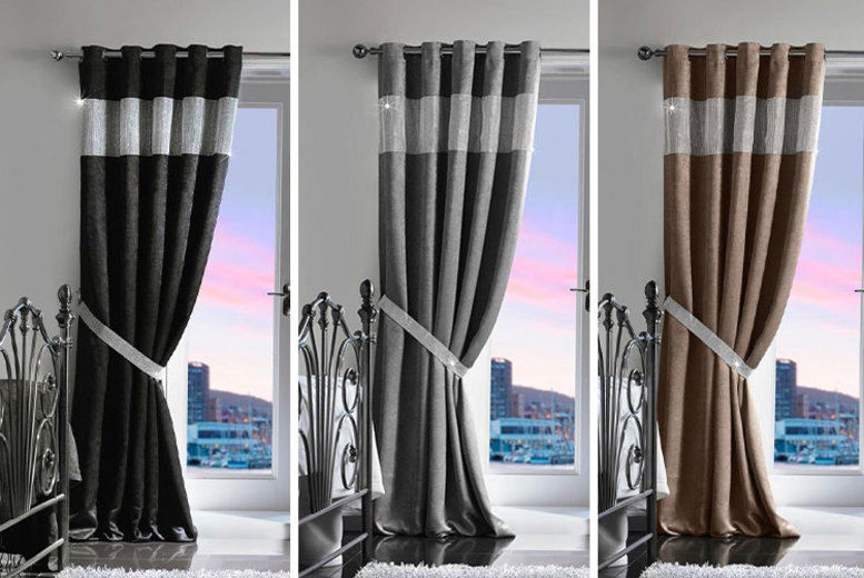 Diamante Thermal Blackout Curtains - 2 Sizes & 3 Colours!
