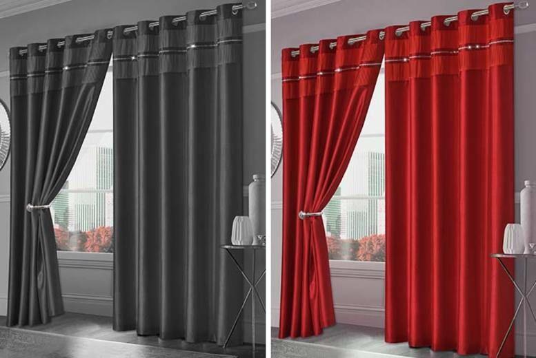 Faux Silk Diamante Curtains - 4 Colours!