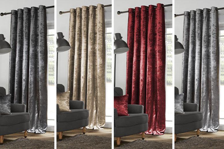 Luxury Crushed Velvet Curtains - 2 Sizes & 4 Colours!