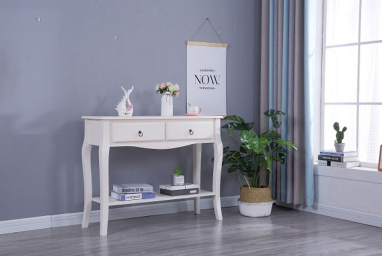 French Style White Console Table