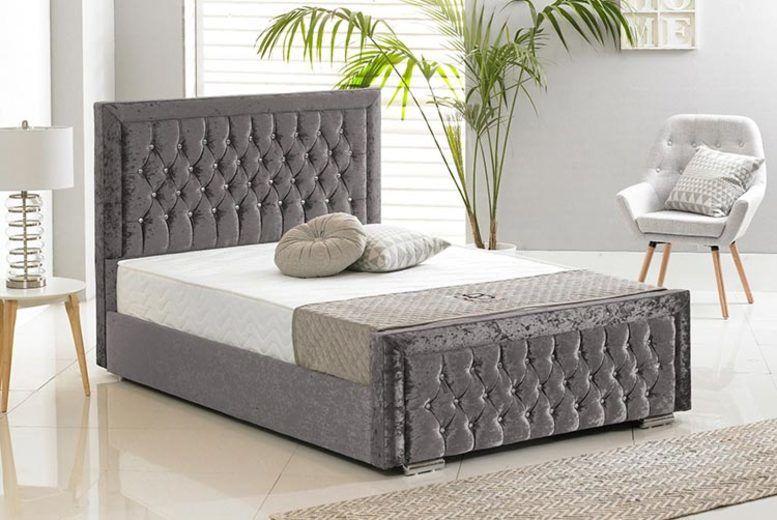 Crushed Velvet Sandringham Bed - 5 Sizes & 6 Colours!