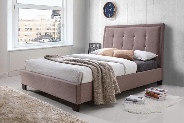 Fabric Bed & Buttoned Headboard - 2 Sizes & Optional Mattress!