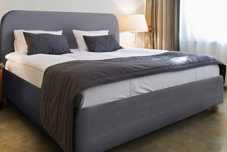 Modern Italian Grey Fabric Bed Frame W/Optional Mattress - 2 Sizes!