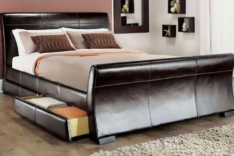 Venetian Storage Sleigh Bed With Optional Mattress - 4 Sizes!