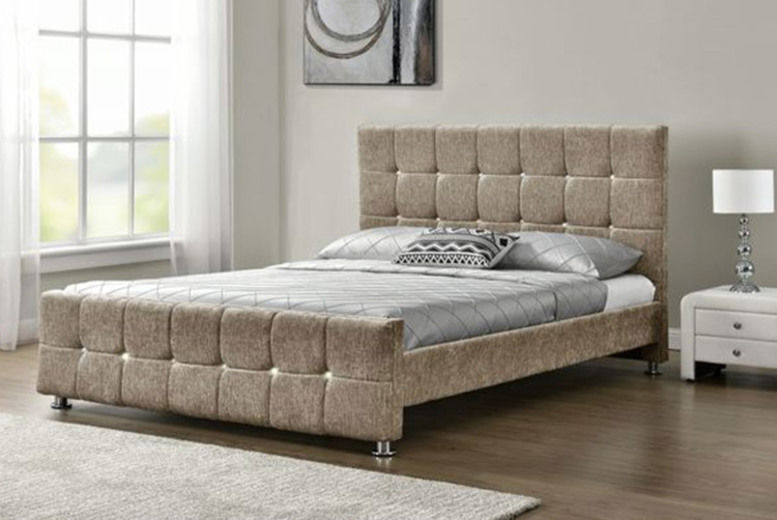 Double Chenille Mink Bed Frame w/ Optional Mattress (from £119)