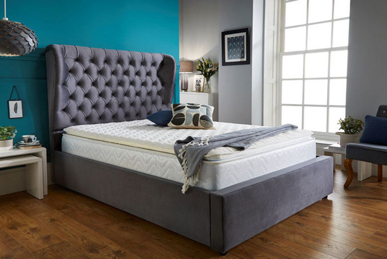 Grey Wingback Bed Frame - 5 Sizes!
