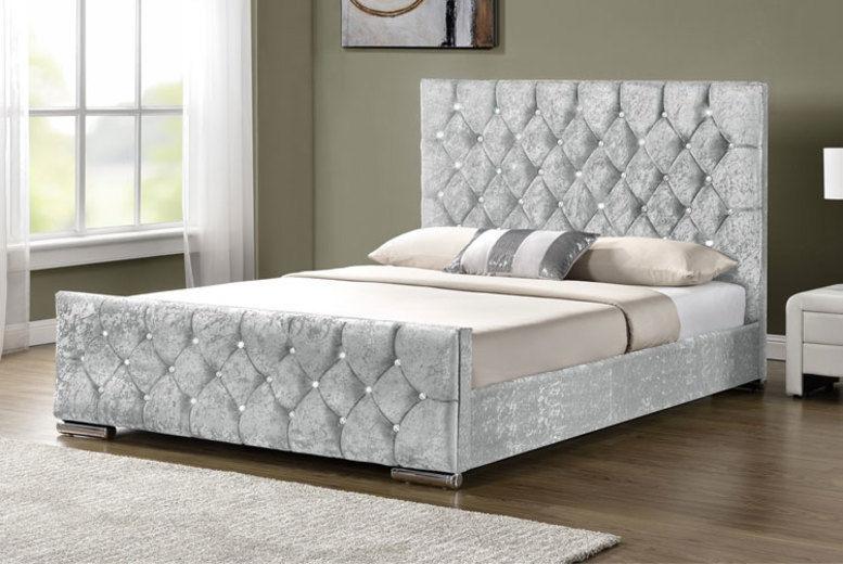 Fabric Bed w/ Diamante Headboard - 2 Fabric Options & 6 Colours!