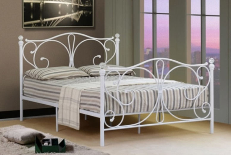 Crystal Metal Bed Frame w/ Optional Mattress - 4 Sizes & 2 Colours!