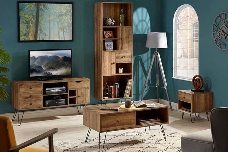 Oak-Effect Furniture Units - TV Stand, Bookshelf, Coffee or Side Table