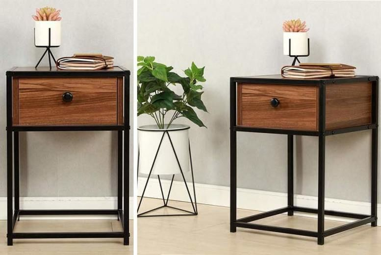 Walnut Bedside Table with Black Metal Frame