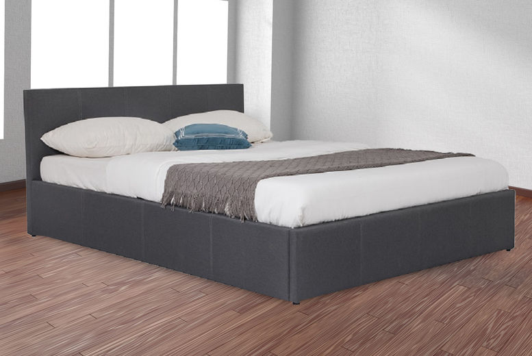 Dark Grey Faux Leather Side Lift Ottoman Storage Bed - 4 Sizes!