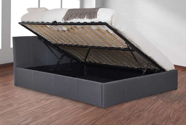 Dark Grey Fabric Side Lift Ottoman Storage Bed - 4 Sizes!
