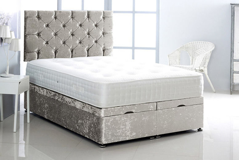 Crushed Velvet Bed w/ Mattress & Headboard - 5 Sizes & 7 Colours!