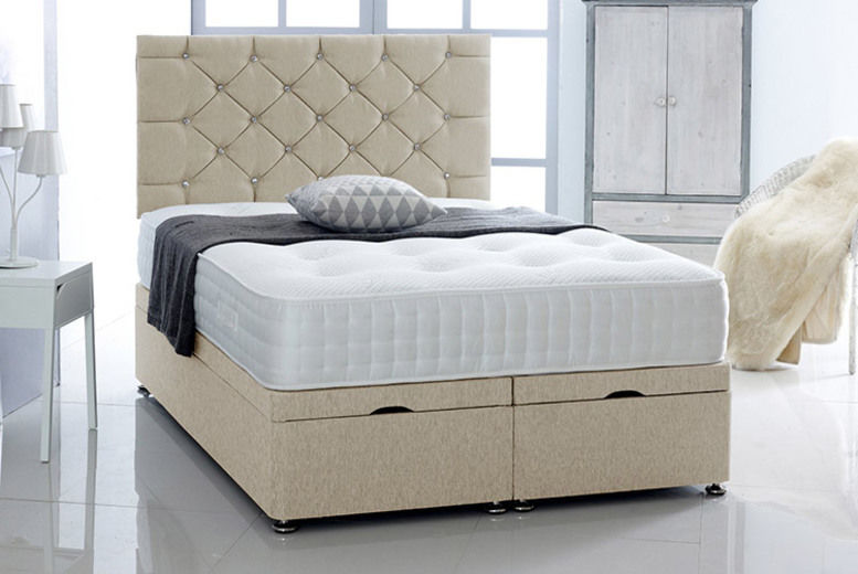 Chenille Divan Bed with Mattress & Headboard - 5 Sizes & 3 Colours!