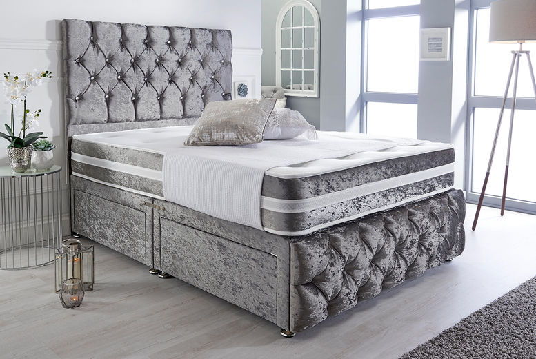 Crushed Velvet Divan w/ Optional Drawers – 5 Colours & 6 Sizes! (from £99)