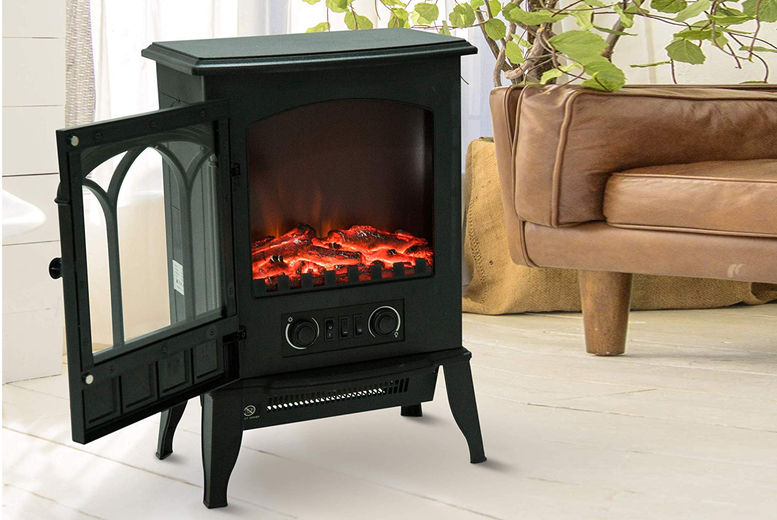 Freestanding Electric Fireplace Black Stove W Led Flame Effect Home Lighting Deals In Shop Livingsocial