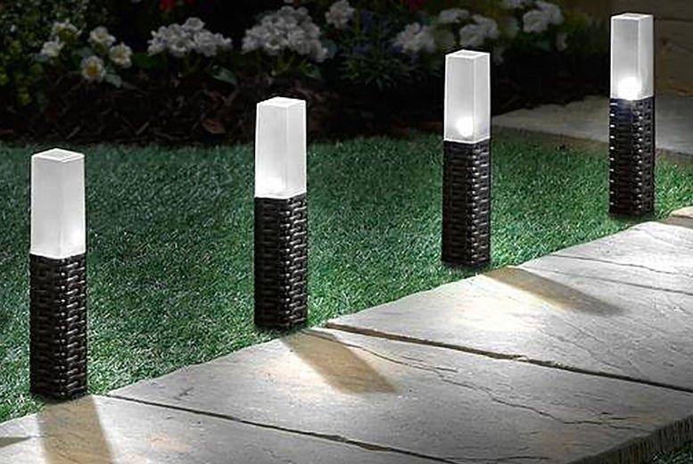 Rattan Effect Led Solar Post Lights Extra Large 2 Piece Pack by Groundlevel