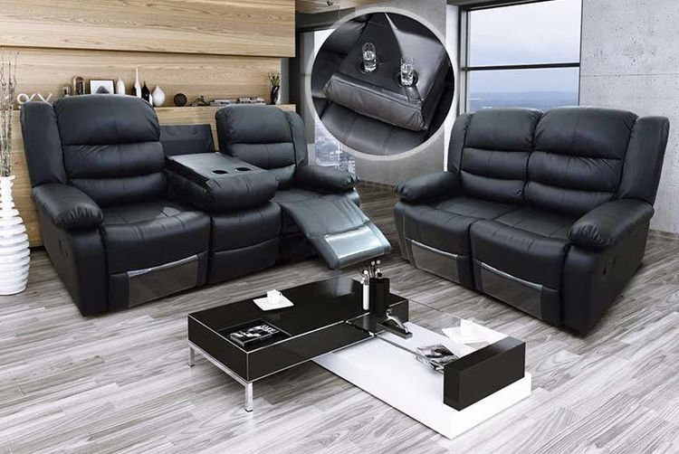Furniture Stop Uk   Luxury Leather Reclining Sofa  ...