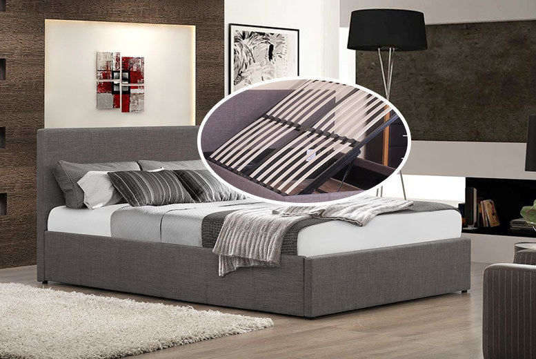 Fine Fabric Side Lift Grey Ottoman Storage Bed 2 Sizes Shop Bralicious Painted Fabric Chair Ideas Braliciousco