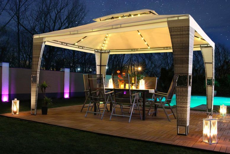 LED Royal Rattan Pavilion with Optional Side Wall