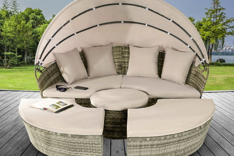 Sun Island Rattan Daybed Lounger & Table
