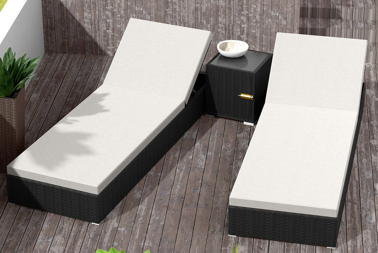 2 Rattan Sunloungers with Table & Protective Cover