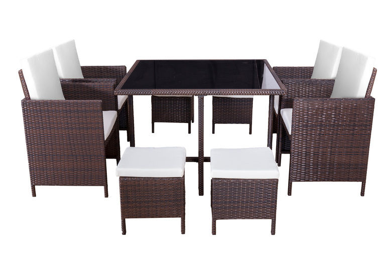 8-Seater Rattan Cube Garden Dining Set