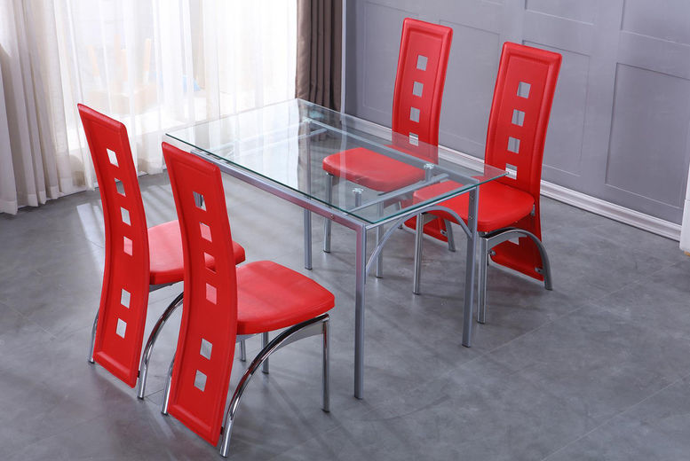 4 Seater Glass Dining Table Deal Shop Wowcher