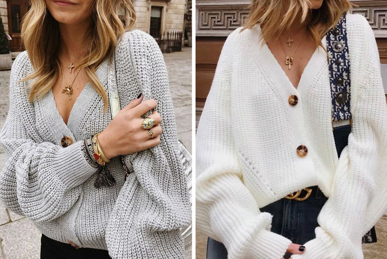 V-Neck-Knitted-Loose-Button-cardigan-1