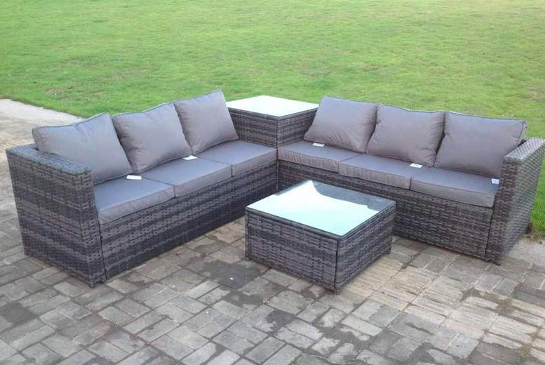 Grey Rattan Furniture Set 6 Seater, Grey Wicker Outdoor Furniture Sets