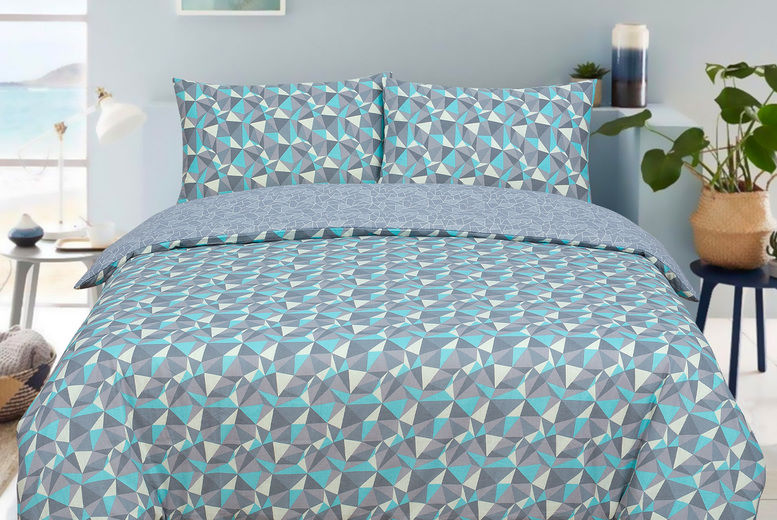 Teal Grey Geometric Duvet Set Deal, Teal And Gray Queen Bedding