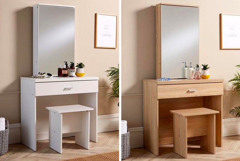Dressing Table Mirror Stool Offer, Oak Dressing Table With Fold Down Mirror