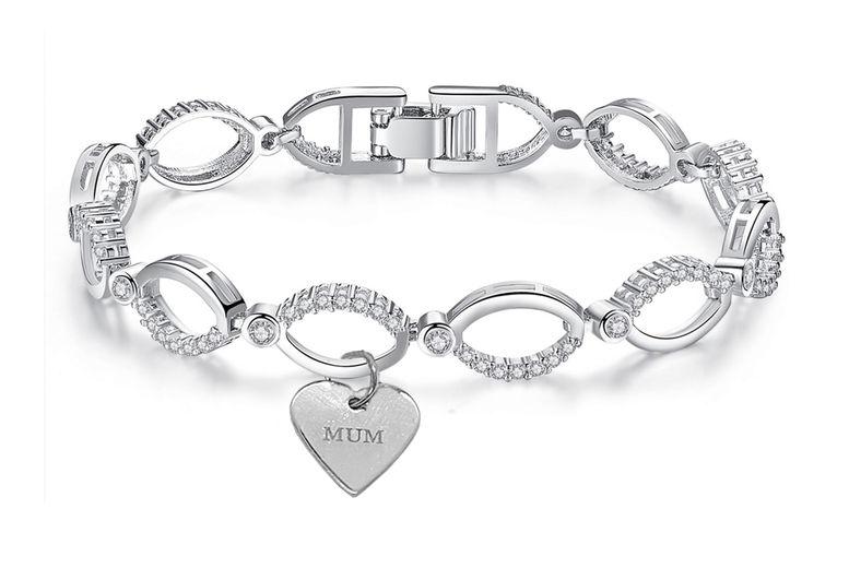 Multi-Linked-MUM-Swarovski-Gem-Chain-Bracelet-with-Mum-Heart-1