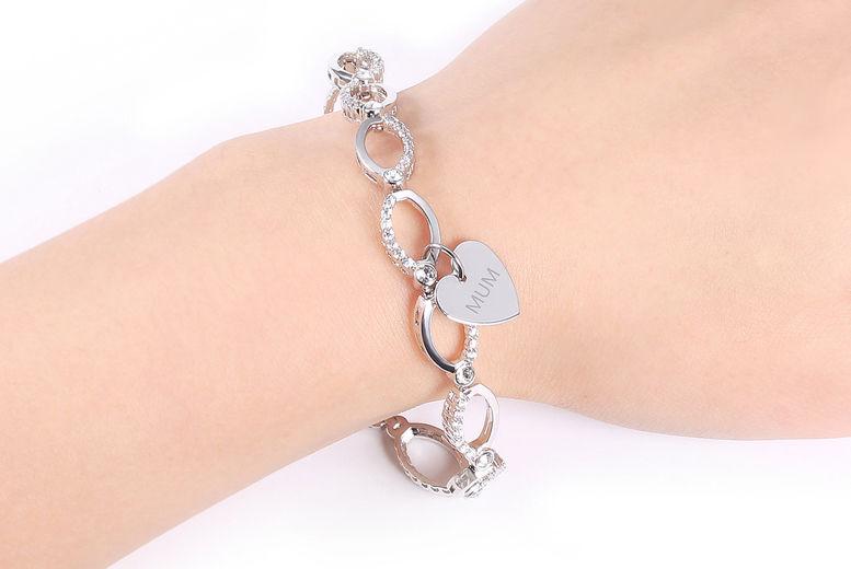 Multi-Linked-MUM-Swarovski-Gem-Chain-Bracelet-with-Mum-Heart-2