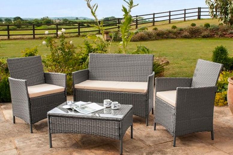 4 Piece Polyrattan Garden Furniture Set, Grey Rattan Garden Furniture Sets Uk