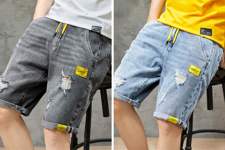 Hangzhou-Yuxi-Trade-Co.,Ltd-Mens-Elastic-Waist-Denim-Shorts-1